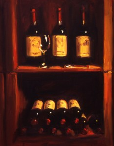 Ron's Wine oil painting by Pam Ingalls